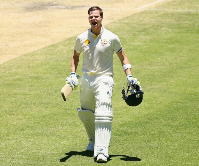 Smith celebrates after scoring his sixth Test century
