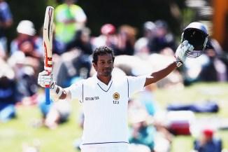 Karunaratne celebrates after scoring his maiden Test century