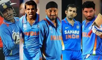 (From left to right) Sehwag, Khan, Harbhajan, Gambhir and Yuvraj will not make an appearance at the 2015 World Cup