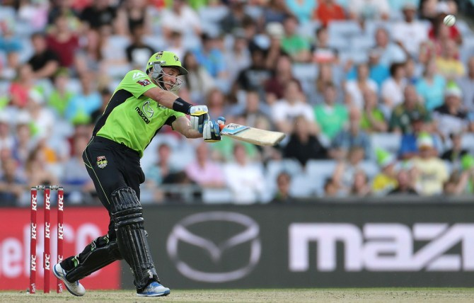 Hussey hammered six boundaries and seven sixes during his spectacular knock of 96