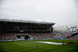 The match was delayed several times due to the bad weather