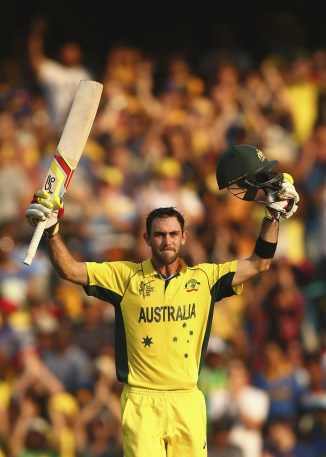 Maxwell celebrates after scoring his maiden ODI century