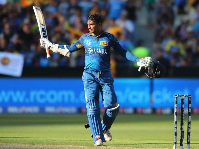 Sangakkara celebrates after scoring his 22nd ODI century
