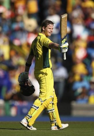 Smith celebrates after scoring his fourth ODI century