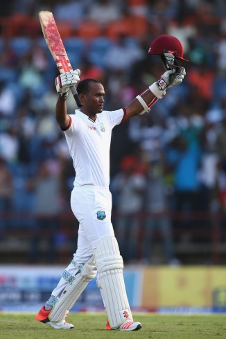 Brathwaite celebrates after scoring his fourth Test century