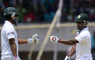 Iqbal (left) brought up his seventh Test century, while Kayes (right) registered his third