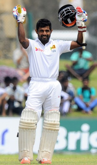 Silva celebrates after scoring his second Test century