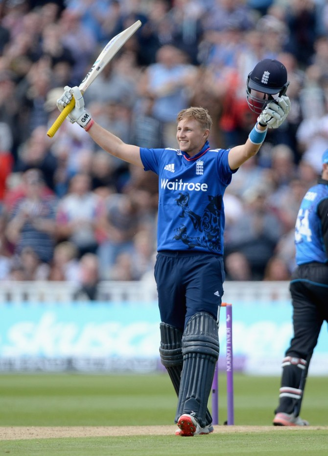Root celebrates after scoring his fifth ODI century