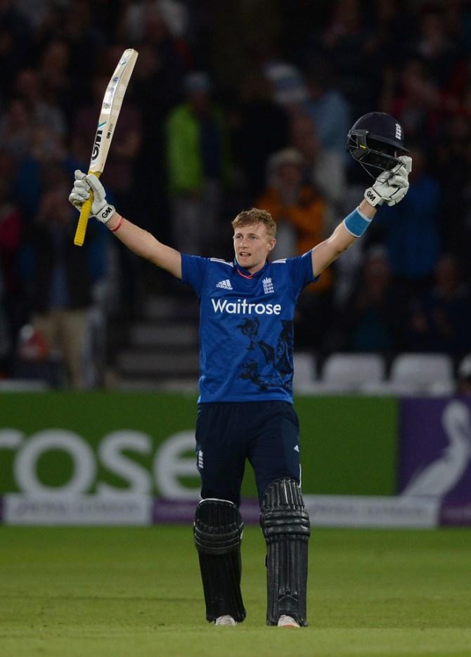 Root celebrates after scoring his sixth ODI century