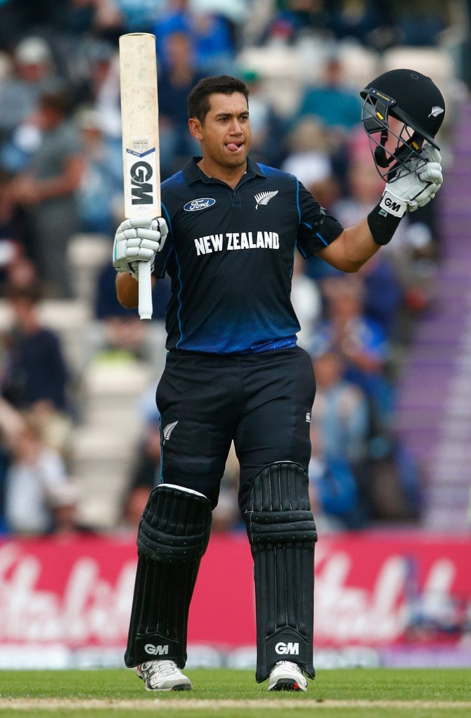Taylor celebrates after scoring his second successive ODI century