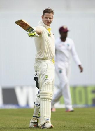 Smith celebrates after scoring his ninth Test century