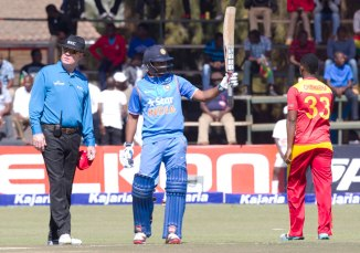 Rayudu celebrates after scoring his second ODI century