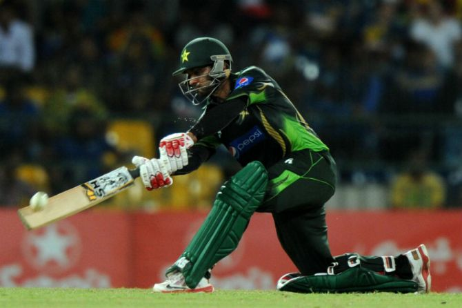 Hafeez hit eight boundaries and a six during his innings of 70