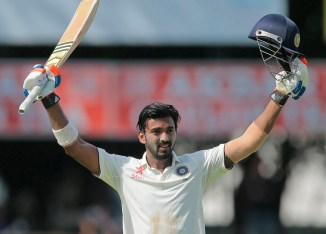 Rahul celebrates after scoring his second Test century
