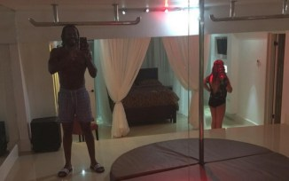 Gayle shows off the strip club in his house