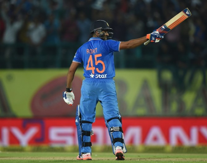 Rohit celebrates after scoring his maiden Twenty20 International century