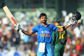Kohli celebrates after scoring his 23rd ODI century