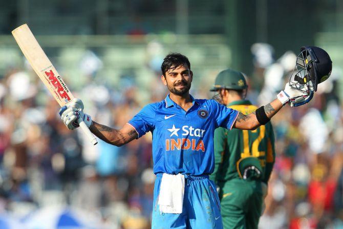 Kohli celebrates after scoring his 23rd ODI century