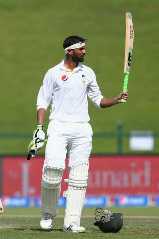 Malik celebrates after scoring his maiden Test double century