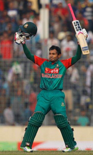 Rahim celebrates after scoring his fourth ODI century