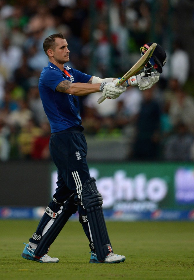 Hales celebrates after scoring his first ODI century