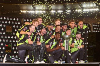 The Thunder celebrate after winning their maiden BBL title