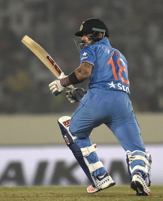 Kohli struck seven boundaries during his game-winning knock of 49