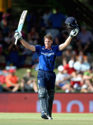 Buttler celebrates after scoring his fourth ODI century