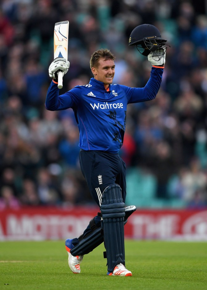 Roy is ecstatic after scoring his third ODI century