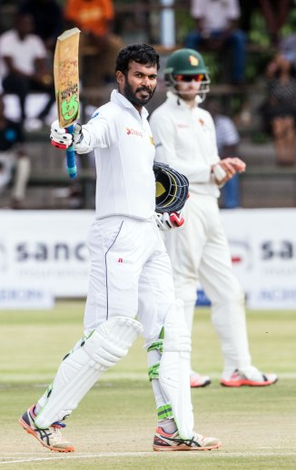 Tharanga celebrates after scoring his second Test century and first since 2006
