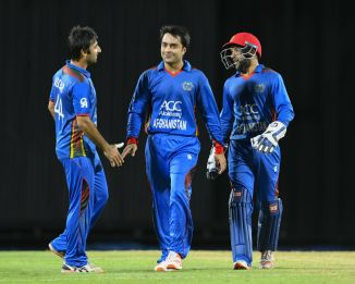 Rashid Khan 43 three wickets Afghanistan Zimbabwe 5th ODI Sharjah cricket