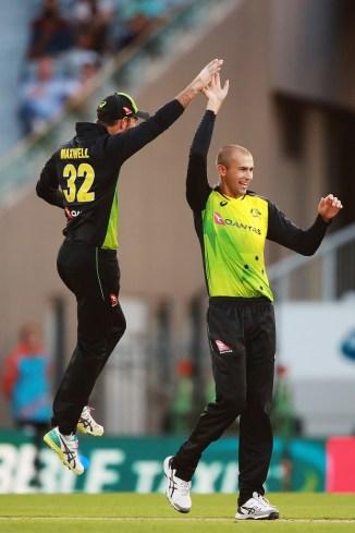 Ashton Agar three wickets New Zealand Australia T20 tri-series final Auckland cricket