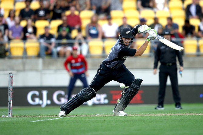 Martin Guptill 65 New Zealand England T20 tri-series Wellington cricket