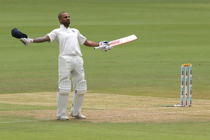 Shikhar Dhawan 107 India Afghanistan Only Test Day 1 Bangalore cricket
