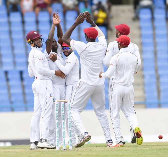 Kemar Roach five wickets West Indies Bangladesh 1st Test Day 1 Antigua cricket
