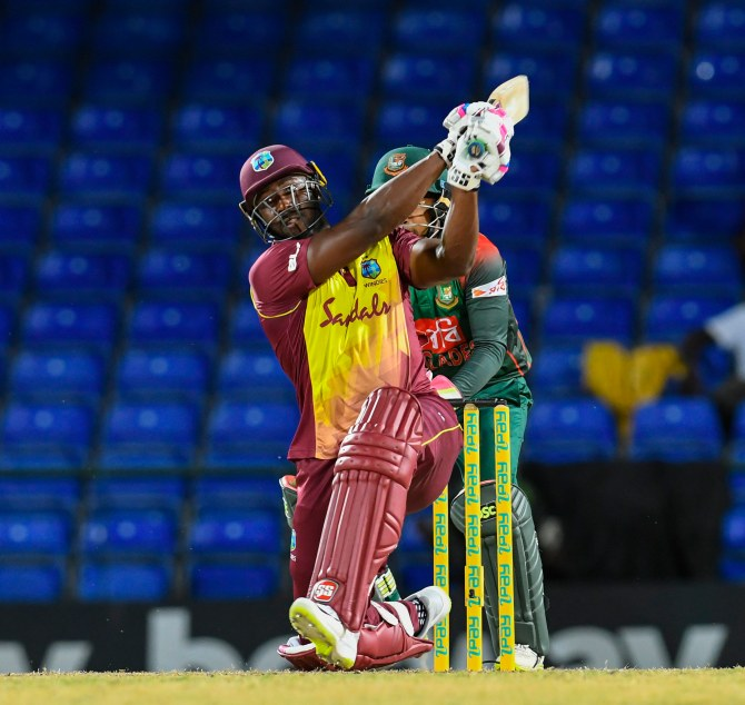 Andre Russell 35 not out one wicket West Indies Bangladesh 1st T20 St Kitts cricket