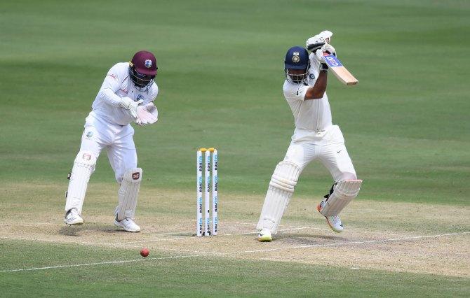 Ajinkya Rahane 75 not out India West Indies 2nd Test Day 2 Hyderabad cricket