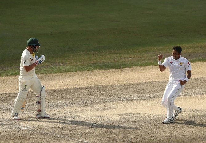 Mohammad Abbas three wickets Pakistan Australia 1st Test Day 4 Dubai cricket