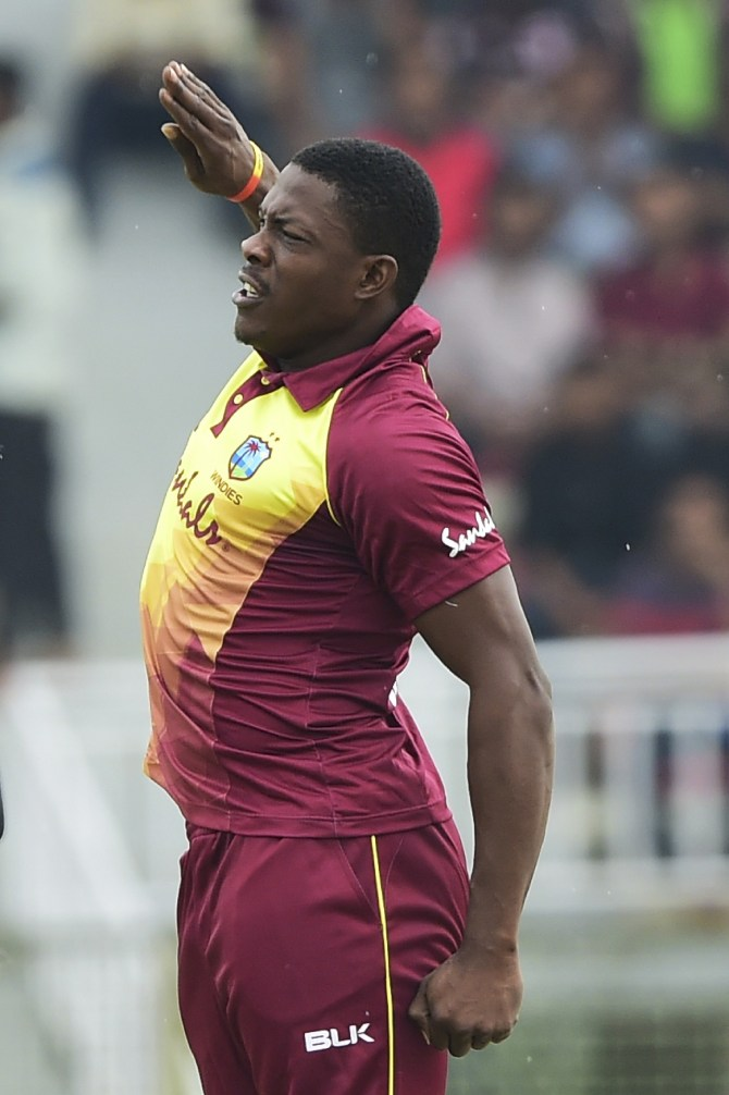 Sheldon Cottrell four wickets Bangladesh West Indies 1st T20 Sylhet cricket