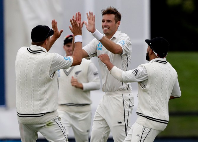 Tim Southee 68 runs three wickets New Zealand Sri Lanka Boxing Day Test 2nd Test Day 1 Christchurch cricket