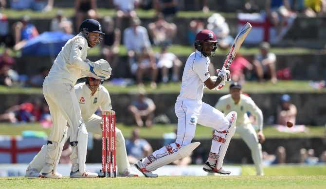 Kraigg Brathwaite 49 runs West Indies England 2nd Test Day 2 Antigua cricket