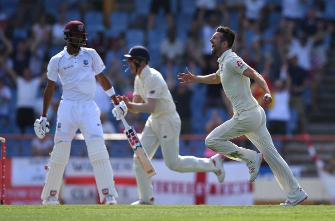 Mark Wood five wickets West Indies England 3rd Test Day 2 St Lucia cricket