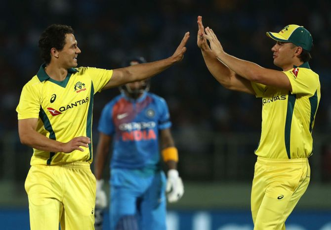 Nathan Coulter-Nile three wickets India Australia 1st T20 Visakhapatnam cricket