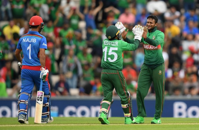 Shakib Al Hasan 51 runs five wickets Bangladesh Afghanistan World Cup 31st Match Southampton cricket
