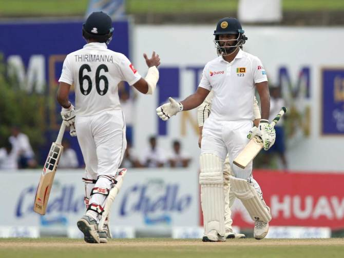 Dimuth Karunaratne 71 not out Lahiru Thirimanne 57 not out Sri Lanka New Zealand 1st Test Day 4 Galle cricket