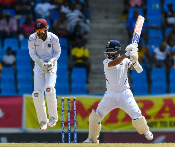 Ajinkya Rahane 53 not out West Indies India 1st Test Day 3 Antigua cricket