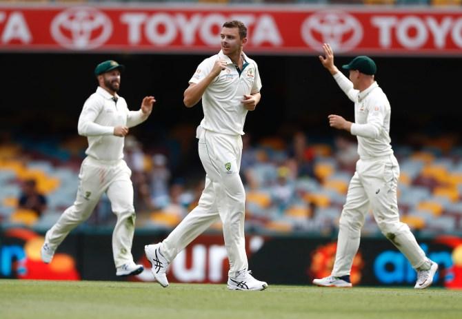 Josh Hazlewood four wickets Australia Pakistan 1st Test Day 4 Brisbane cricket