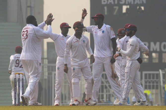 Rahkeem Cornwall seven wickets Afghanistan West Indies 1st Test Day 1 Lucknow cricket