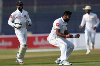 Lahiru Kumara four wickets Pakistan Sri Lanka 2nd Test Day 1 Karachi cricket