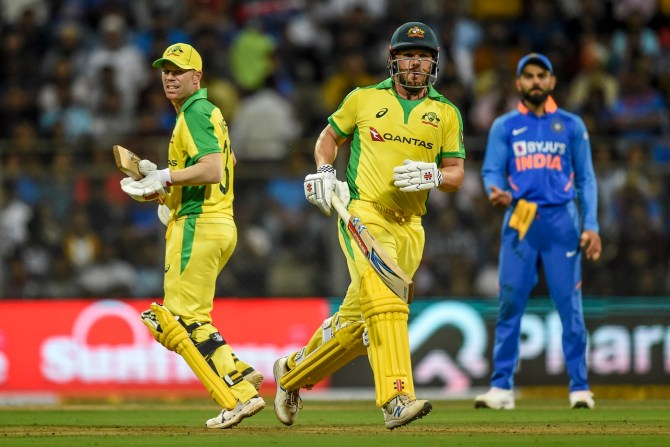 David Warner 128 not out Aaron Finch 110 not out India Australia 1st ODI Mumbai cricket